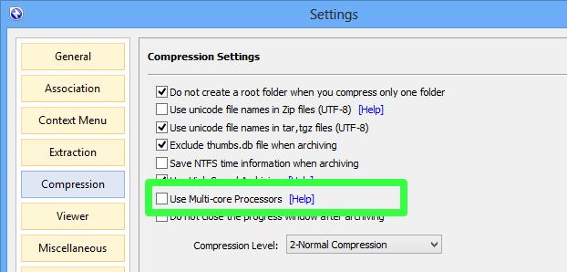 Bandizip - Compression on Multi-core Computer