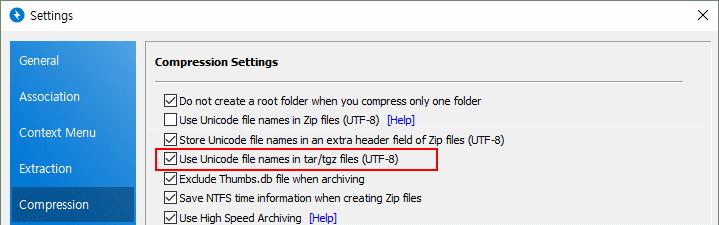Bandizip - Unicode filenames in ZIP format